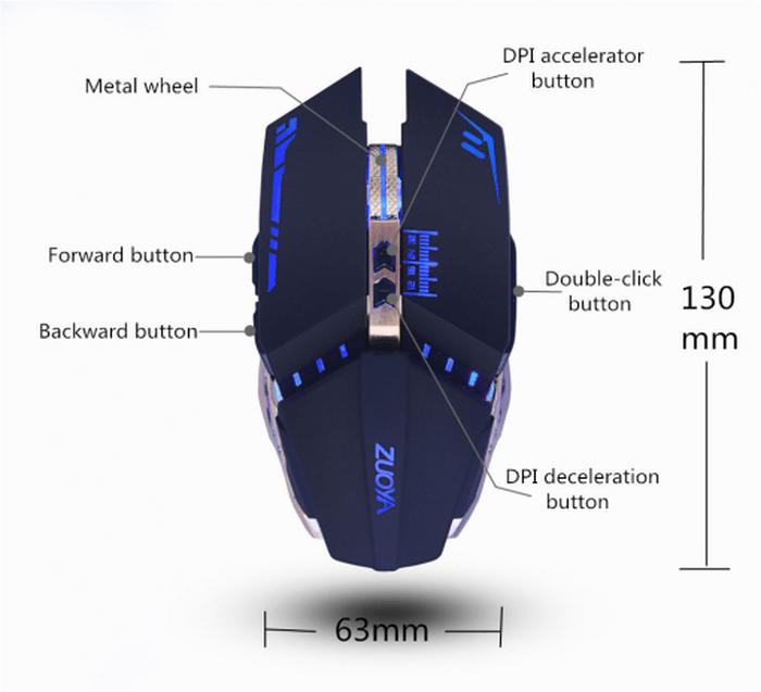 Chi tiết cấu tạo kĩ thuật của dòng chuột cao cấp Marco chơi game cực đỉnh - ZUOYA 8 Nút Smart Macro LED Quang USB