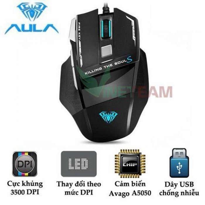 Dòng chuột có dây được trang bị 8 nút bấm như AULA SI-928S Killing Soul DPI 3500 cũng là gợi ý không tồi