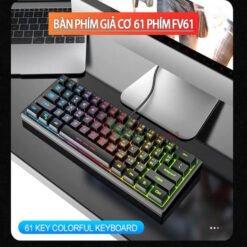 Bàn phím mini có dây 61 phím FV61 LED RGB