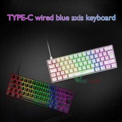 Bàn Phím Cơ Mini Gaming Ziyoulang T60 Blue Switch Led Raindbow 62 Phím