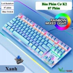 Bàn Phím Cơ Gaming ZIYOULANG K2 87 Phím, Blue Switch, Led Rainbow