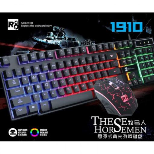 Bộ bàn phím giả cơ và chuột chuyên game R8 1910 Led 7 màu (Đen)