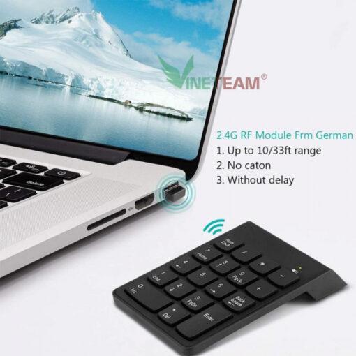 Bàn phím số không dây Wireless 2.4 GHz 18 phím cơ bản dùng cho Mac Book Air/Pro, laptop, điện thoại