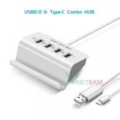Bộ Chia 4 Cổng USB OTG HUB Chuẩn Type-c Kiêm Giá Đỡ