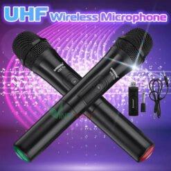 Bộ 2 Micro Karaoke không dây ZANSONG V20 VINETTEAM, micro không dây giá rẻ dùng cho loa kéo, amply
