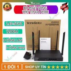 Tenda Wifi hotspot Router W18E, Hai Băng Tần, Tốc Độ 1200Mbps, chịu tải 50-80 user, với 3 cổng WAN hỗ trợ cân bằng tải