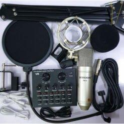 Combo micro Woaichang BM900 + Sound card V8 hát livestream, thu âm chuyên nghiệp