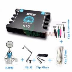 Combo sound card thu âm Livestream XOX K10 và K3000