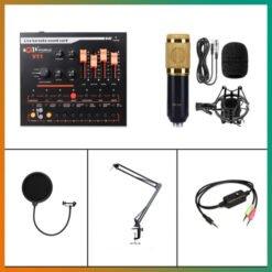 Combo  livestream micro BM800, soundcard V11, chân kẹp, màng lọc, dây live