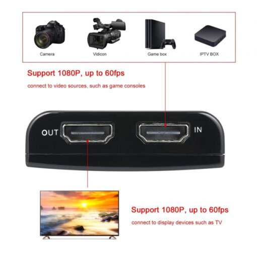 Ezcap 266 hộp Video Game Capture hdmi to usb 3.0 adapter livestream obs hỗ trợ 1080p 60fps ngõ ra video và cổng vào mic Tương Thích Với Windows/Mac/Linux