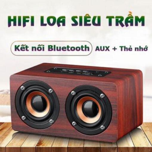 Loa gỗ bluetooth siêu trầm âm thanh nổi HIFI W5