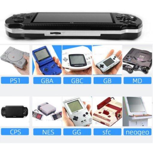 Máy chơi game cầm tay 4 nút X6 màn hình 4.3 inch chơi được game thùng-NES-SNES-GBC-GBA-SMC tích hợp sẵn 10000 trò