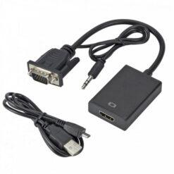 Bộ cáp chuyển VGA sang HDMI có âm thanh + Cáp Micro USB cấp nguồn